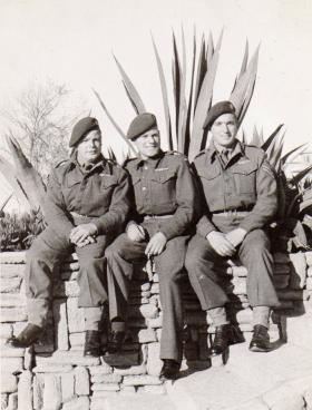 Pte Kimber with friends on the Sunday before they handed their Ox and Bucks berets in, circa 1946