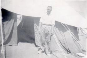 Pte Kimber outside his quarters in Mount Carmel, circa 1946