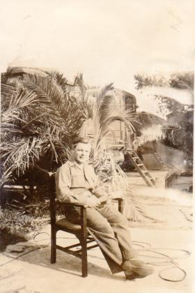 Pte Kimber outside Lathburys caravan, circa 1946
