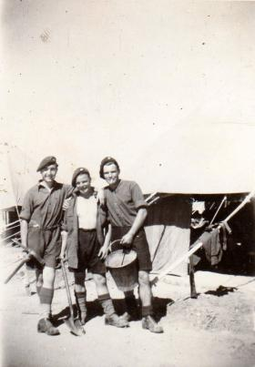Pte Kimber with his Sgt and Cpl in camp on outskirts of Gaza, circa 1946