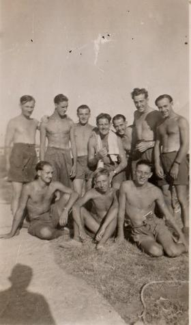 Taylor in Palestine with friends from 7th Parachute Battalion, 1946