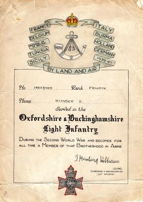 Certificate given to Pte Kimber by the Ox and Bucks, 1946