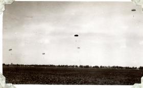 Men from 152 (Indian) Parachute Battalion descend, circa 1942