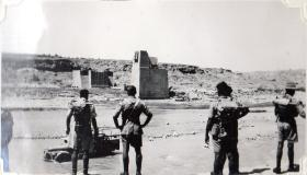 Soldiers looking across the river, Jhansi, circa 1943