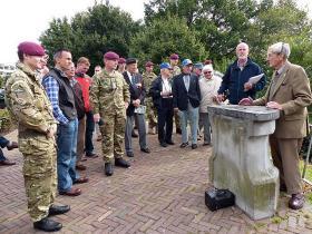 John Waddy delivering a battlefield tour, Arnhem, September 2012.