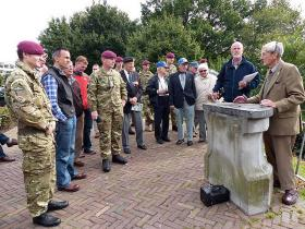 John Waddy delivering a battlefield tour, Arnhem, September 2012.