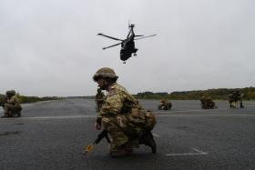 Soldiers from 2 PARA on the airfield tarmac, Exercise Blue Raider, Woodbridge, Nov 2013.