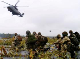 Merlin helicopters above soldiers from 2 PARA, Exercise Blue Raider, Woodbridge, Nov 2013.