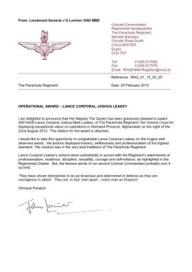 Operational Award Announcement Letter from the Colonel Commandant, 26 February 2015.