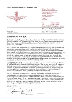 Establishment of Support Our Paras Charity letter from the Colonel Commandant, 14 November 2014.