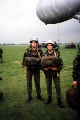 Pte Harker and unknown, Brize Norton, c May 1991.