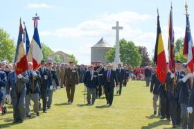 The Colonel Commandant, Laurie Wheeden and the Regimental Secretary at Ranville Cemetery, 6 June 2015.