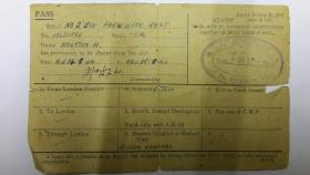 Cpl Holtom's leave pass, September 1944.