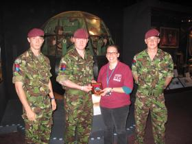 Members of 21 Air Assault Battery RA present a plaque to the Airborne Assault Museum, Duxford, 2010