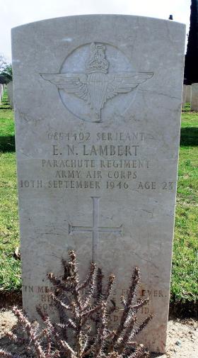 Grave of Sgt  Ernest N Lambert, Ramleh War Cemetery, Israel, 2015.
