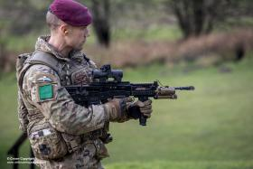 A member of 3 PARA demonstrating an upgraded Laser Light Module Mk 3 mounted on the SA-80 Mk2.