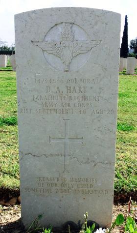 Grave of Cpl Desmond A Hart, Ramleh War Cemetery, Israel, 2015.