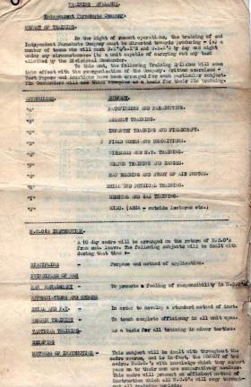 22nd Independent Para Coy Training Syllabus, August 1944.