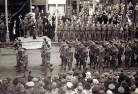 12th (Yorkshire) Parachute Battalion, march past, Scarborough, c1944.