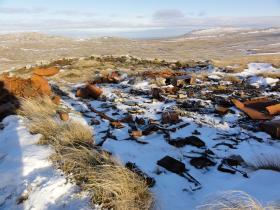 Debris left from after the battle, Mount Longdon, 11 June 2012.