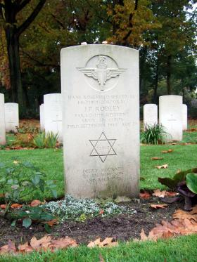Headstone of Cpl J P Rodley, War Cemetery, October 2015.