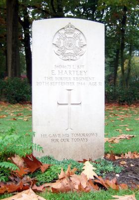Headstone of L/Sgt E Hartley , Oosterbeek War Cemetery, October 2015.
