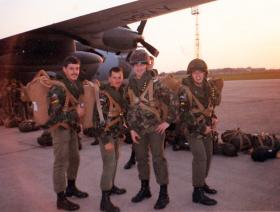 Members of 23 PFA prepare for a night jump at RAF Lyneham, 1988.