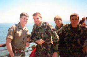 Men of 23 PFA en route to Isle of Man, 1988.