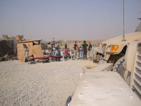 The gym being relocated to provide additional space for the Paras, Patrol Base 1, Afghanistan 2010