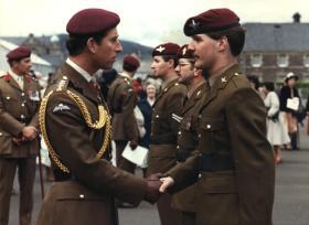 Pte Stuart Mathewson meets HRH Prince of Wales at Redford Barracks, Edinburgh, 1982