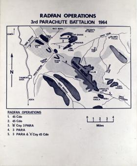 Map detailing 3 PARA's operations in Radfan, 1964