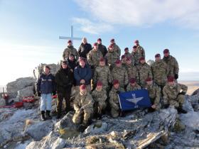 Members of B Coy, 3 PARA with veterans on Mount Longdon, 11 June 2012.