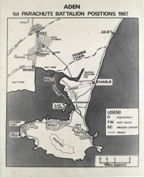 Map Detailing 1 PARA's positions in Aden, 1967