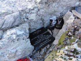 Memorial to Cpl McLaughlin, Mount Longdon, 11 June 2012.