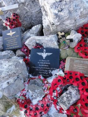 Memorials on Mount Longdon, 11 June 2012.