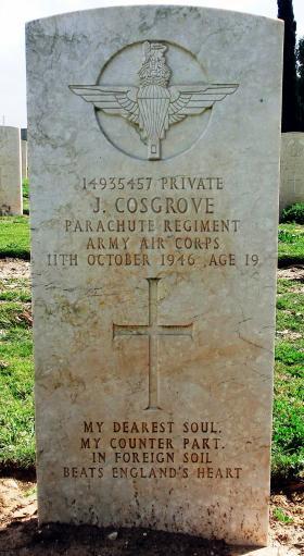 Grave of Pte John J Cosgrove, Ramleh War Cemetery, Israel, 2015.