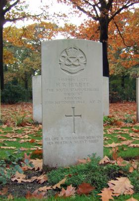 Headstone of L/Cpl H R Hulett, Oosterbeek War Cemetery, October 2015.