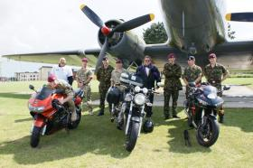 Riders taking Part in the 1000 Miles in 24 Hours Challenge pose with members of 3 PARA, Colchester, 2011
