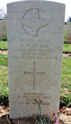 Grave of Pte Edward Fletcher, Ramleh War Cemetery, Israel, 2015.