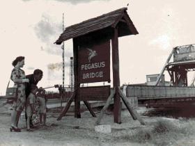 An early Pegasus Bridge sign.