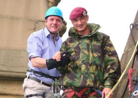 Mr Ed Balls MP Abseilling for Charity with 299 Para Sqn RE (V), Wakefield Cathedral, 2011