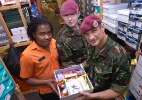 Soldiers from 299 Para Sqn RE (V) Packing Boxes for Afghanistan, 2010