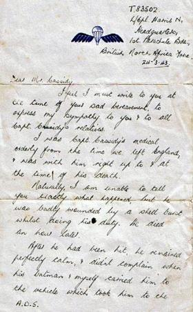Letter to the father of Capt Cassidy from L/Cpl Norman Harris, 24 April 1943.