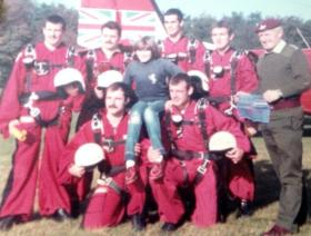 The Parachute Regiment Freefall Team 'The Red Devils', Queen's Avenue, Aldershot, early 1980s.