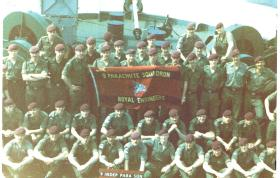 Group photograph of 2 Troop, 9 Para Sqn RE taken aboard the troop ship MV Norland, 1982