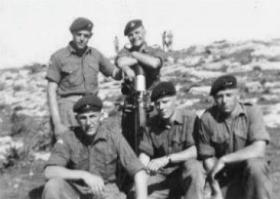 "Group photo of members of 1st Bn, 3"" Mortar Pln, Cyprus 1956"