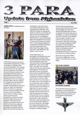 3 PARA Update from Afghanistan, December 2010