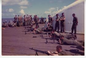 Members of 3 PARA onboard SS Canberra, 1982.