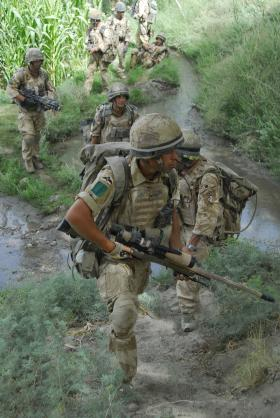 Men of B Coy, 3 PARA conduct a patrol, Musa Qala, Afghanistan, 2008.