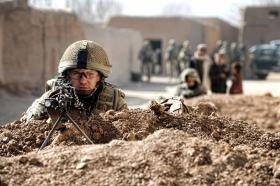 Soldiers from 3 PARA on a joint patrol with the Afghan National Army (ANA), Afghanistan, 2011